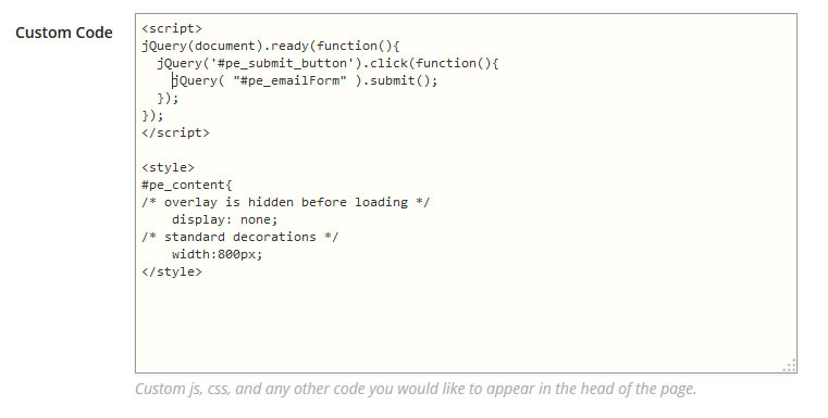 custom-code-on-landing-page